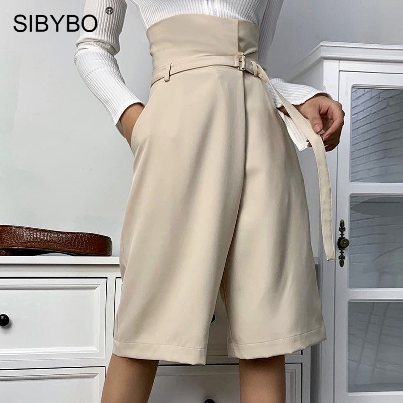 SIBYBO High Waist Loose Casual Shorts Women Sashes Pockets Cotton Summer Women Shorts Solid Wide Leg Short Pants For Women