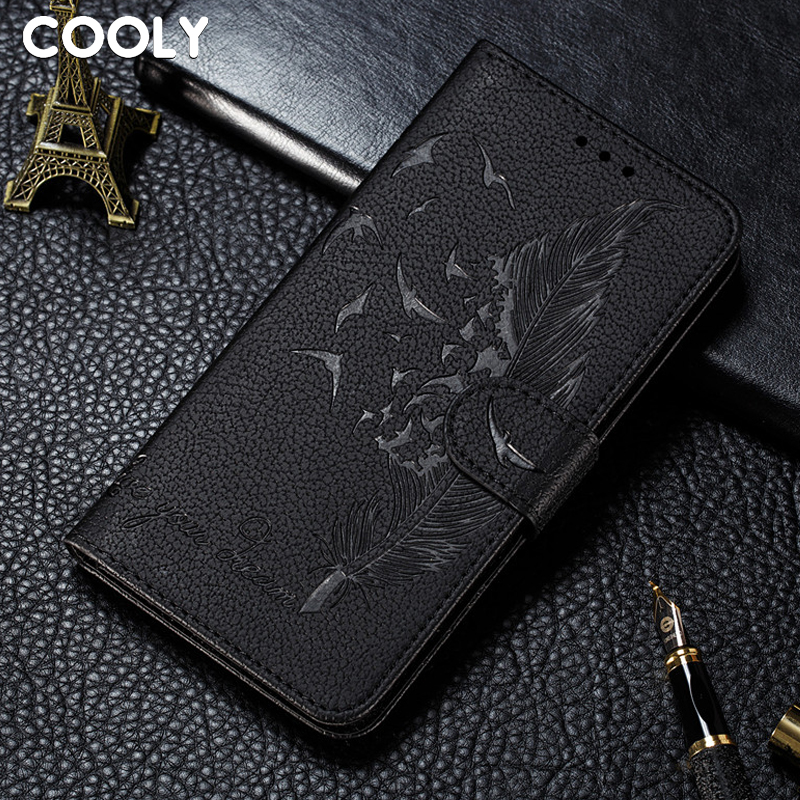 COOLY Cartoon Feather <font><b>Case</b></font> For <font><b>Samsung</b></font> <font><b>Galaxy</b></font> <font><b>J6</b></font> Plus J4 2018 A6 Plus A7 2018 A9 Cover Retro Leather Wallet Flip Phone Coque image
