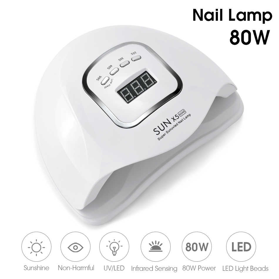 Rohwxy Zon X5 Max Nail Droger Manicure 80W Uv Led Nagel Lamp Voor Drogen Nagels Polish Gel Ijs Lamp met 10 S/30 S/60 S/99 S Timing Set