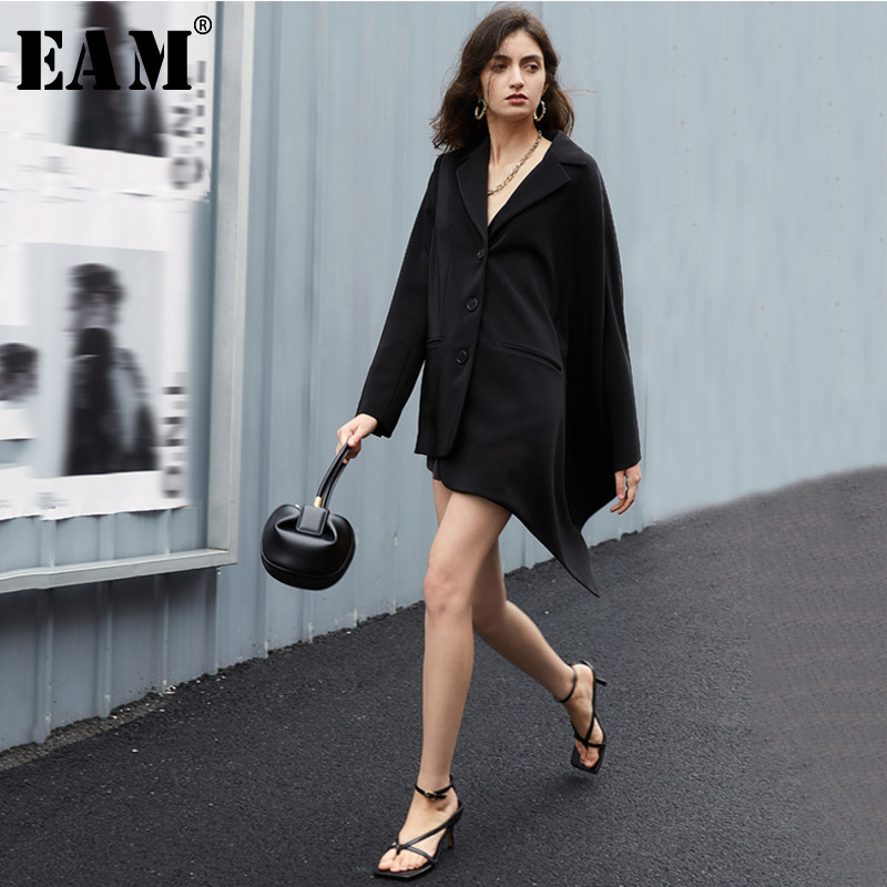 [EAM]  Women Black Brief Irregular Long Blazer New Lapel Long Sleeve Loose Fit  Jacket Fashion Tide Spring Autumn 2020 1T609