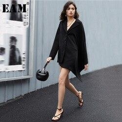 [EAM]  Women Black Brief Irregular Long Blazer New Lapel Long Sleeve Loose Fit  Jacket Fashion Tide Spring Autumn 2020 1T609