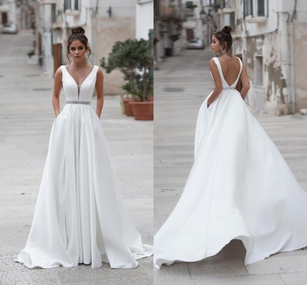Simple A Line Boho Wedding Dress Long 2020 Backless Sleeveless Beaded Sashes Beach Wedding Gown Plus Size Bride Gown