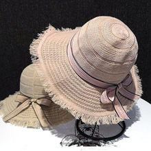 Spring Summer Large Brim Sun Hats Outdoors Travel Beach Straw Hat Lace Bow Dome Caps Collapsible Khaki Beige Pink Sun Visors