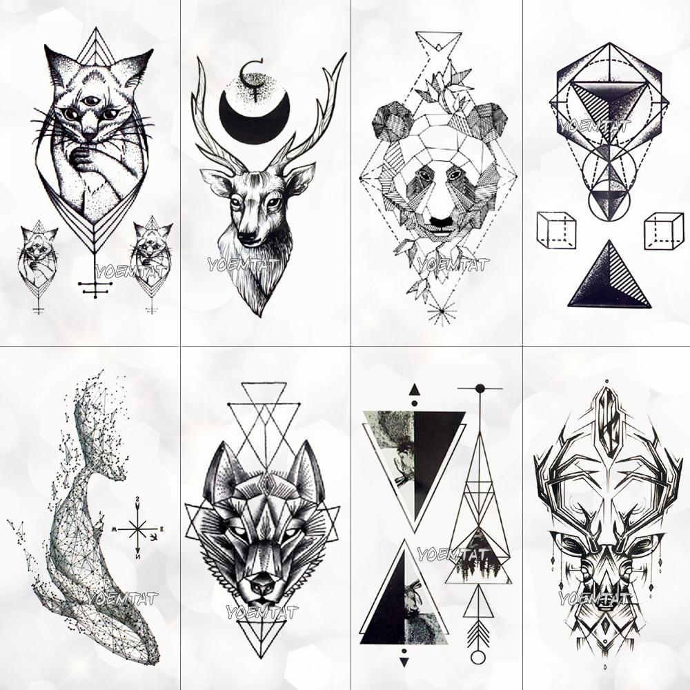 Noir géométrique baleine temporaire tatouage lune cerf Rose tatouage autocollants femmes fête corps bras Art faux tatouage feuille hommes fleur mains
