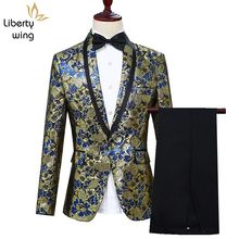 NEW Men Floral Embroidery Show Costume Outfits Shawl Collar Slim Fit Formal Dress Suit Stage Performance Wedding MC 2 Piece Set(China)