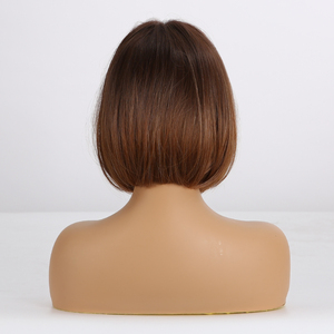 Image 3 - ALAN EATON Short Straight Ombre Brown Honey Blonde Synthetic Wigs With Bangs for Women Bob Wig Heat Resistant bobo Hairstyle