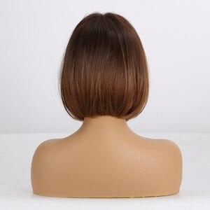 Image 3 - EATON perruque synthétique courte lisse avec frange marron miel blond miel avec frange, postiche Bob résistante à la chaleur, postiche bobo