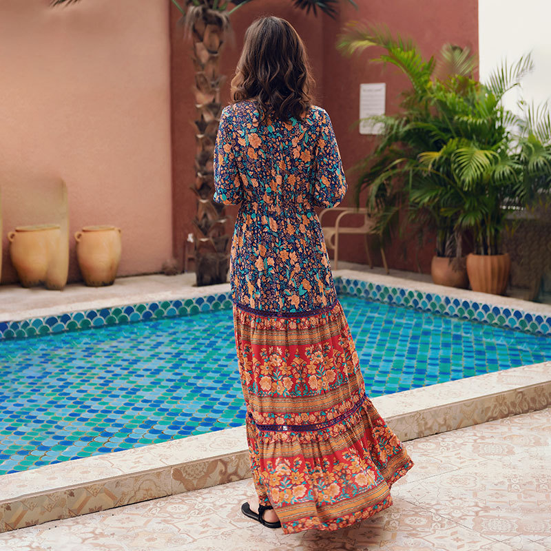 Turkey Bohemian Printed Long Sleeve Exotic Holiday Dress Thailand Nation Long Skirts
