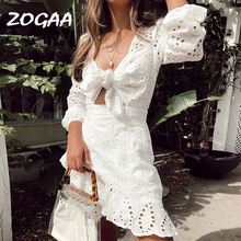 ZOGAA Women White Sexy Hollow Out Bow Beach Dress Elegant Long Sleeve Ruffles Lace Summer Holiday Kawaii Girls Mini Sundresses