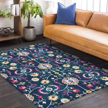 Moroccan national style Deep blue flower carpet bathroom plush rug bedroom floor mat living room door customize 1.5x2m