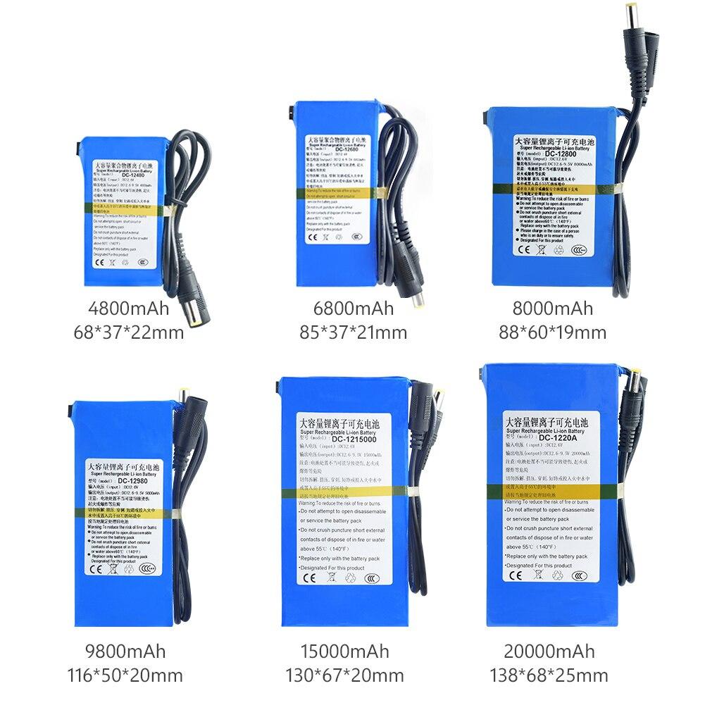 Batterie Lithium-ion Rechargeable, 12V DC, 4800/6800/8000/9800/15000/20000mAh, avec interrupteur Bms On/Off pour caméscopes et appareils photo