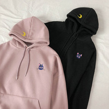 Moon Cat Embroidered Pink Hoodies Women Kawaii Korean Style Loose Thick Sweatshirt Hooded Pullovers