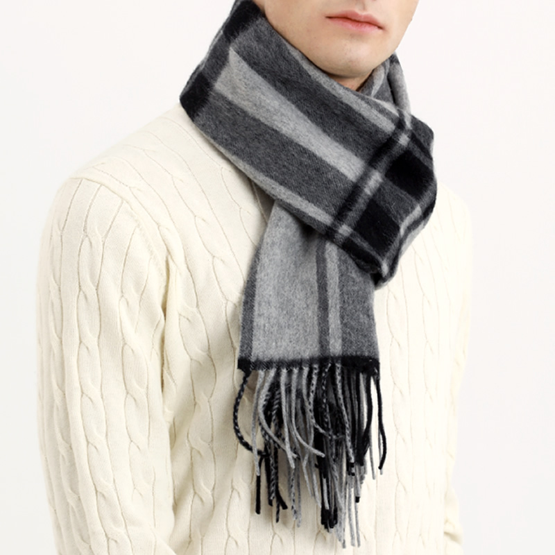 Scarf Men Winter Strip Solid Plaid Wool Scarf Luxury Classical Warm Long Soft Cashmere Winter Scarves for Men Winter Accessories