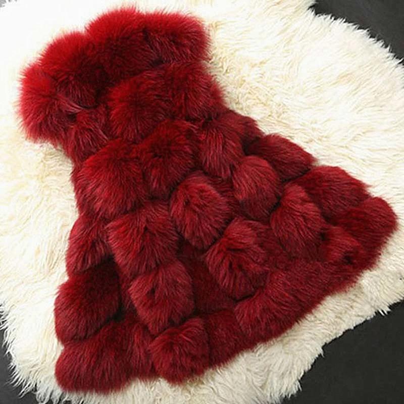 Thick & Warm Ladies Silver Fox Fur Coat Autumn & Winter Faux Fur Vest Fashion Gray / Black / Red Women Fur Jacket