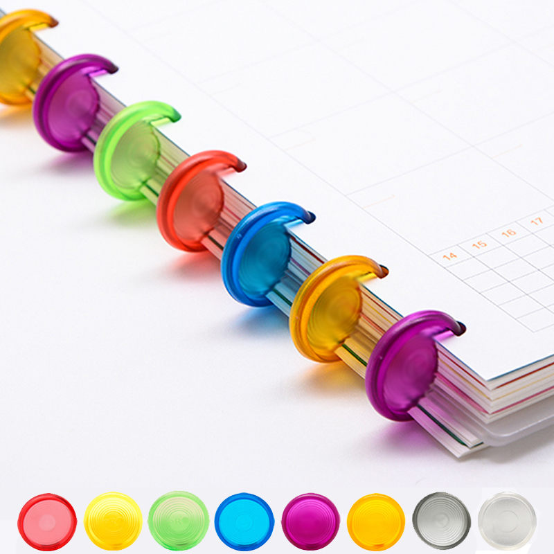 18/24/28mm Colored Mushroom Hole Disc Arc Candle Pattern Disc-binding Office Loose Leaf Binding Ring Notepad Binder Discs Buckle