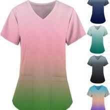 Free Shipping Woman Gradient Printed Medical Clothing Short Sleeve V-neck Nurse Uniform Tops Working Medical Scrub Uniforms 2021