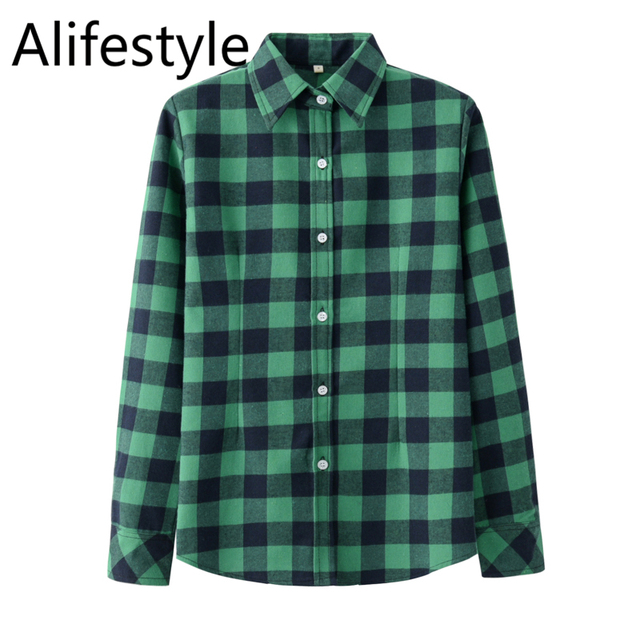 2020 New Women Blouses Brand New Excellent Quality Cotton 32style Plaid Shirt Women Casual Long Sleeve Shirt Tops Lady Clothes 3