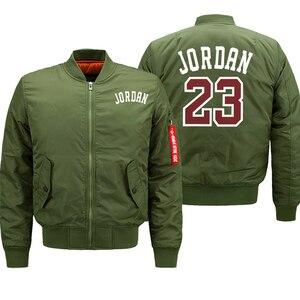 Image 4 - Jordan 23 męskie grube kurtki drukowane męskie płaszcze moda Streetwear bomberka w stylu Casual kurtka zimowa mężczyźni 2019 jesień ciepły płaszcz z suwakiem