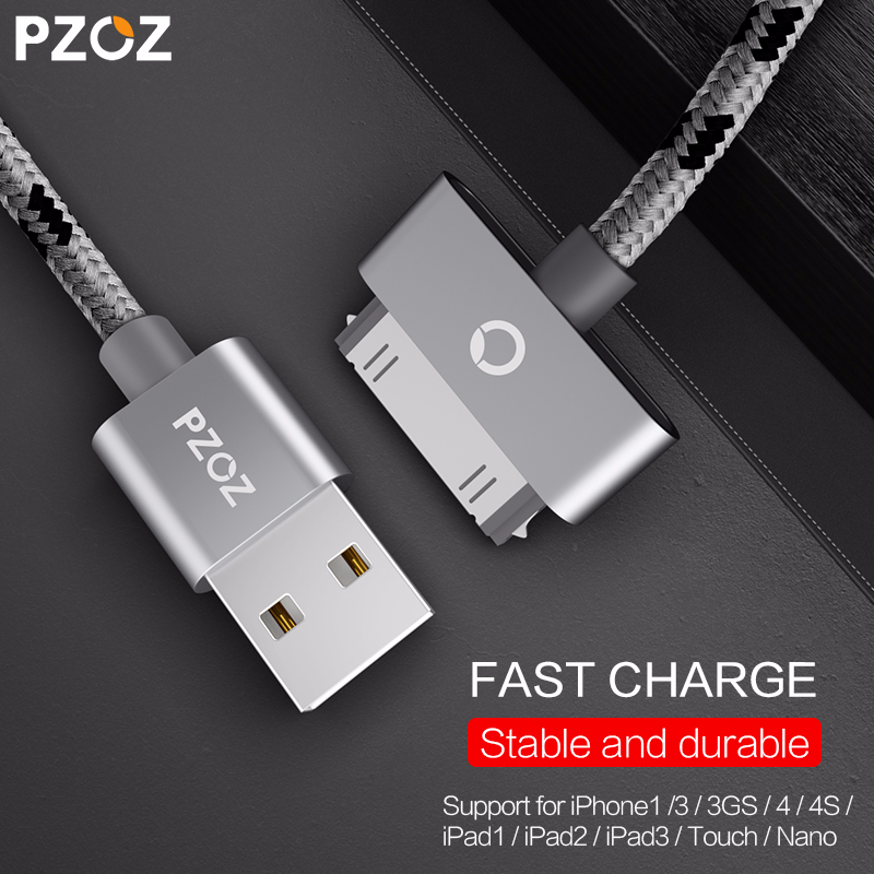 PZOZ USB Cable Charge Fast Charging For Iphone 4 S 4s 3GS 3G IPad 1 2 3 IPod Nano Itouch 30 Pin Charger Adapter Data Sync Cord