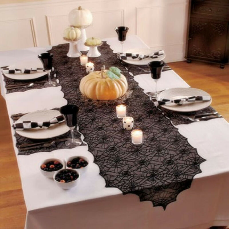 Black Lace Spiderweb Halloween Household Party Tablecloth Table Cover Decoration