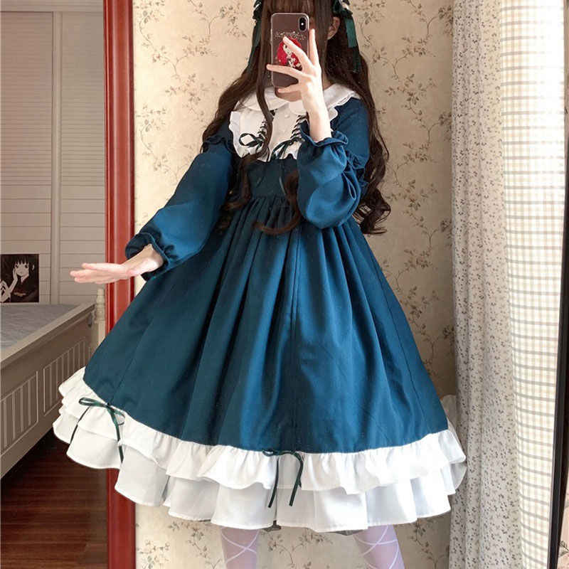 Sweet lolita dress vintage printing lace angel lace bowknot high waist victorian dress kawaii girl gothic lolita op cos loli