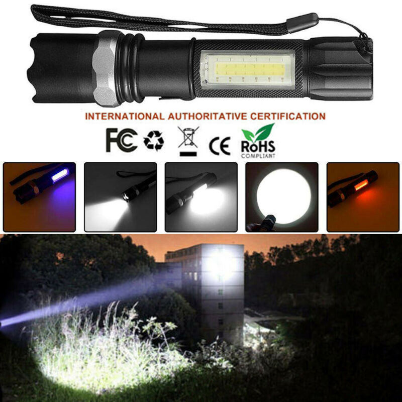 50000Lm Diconna LED Flashlight Hand Tourch Zoomable XM-L T6 Hiking Camping Light