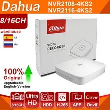 Сетевой видеорегистратор Dahua оригинальный мобильный телефон 4 к NVR NVR2108-4KS2 NVR2116-4KS2 4/8/16CH 1U Lite Сетевой Видео Регистраторы H265 для IP Камера Систем...