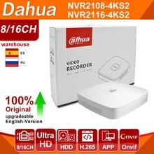 Dahua original 4k nvr NVR2108-4KS2 NVR2116-4KS2 4/8/16ch 1u lite gravador de vídeo em rede h265 para o sistema de câmera ip