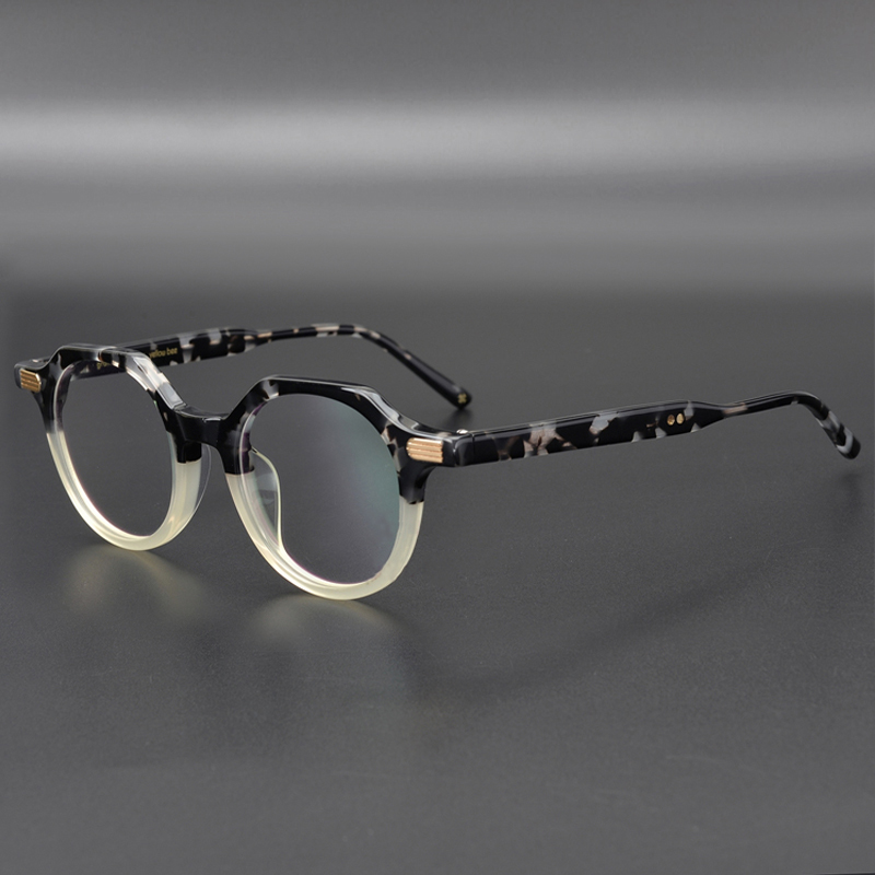 Acetate Optical Glasses Frame Men Transparent Irregular Eyeglasses Women Round Myopia Prescription Eyeglass Frames Clear Eyewear