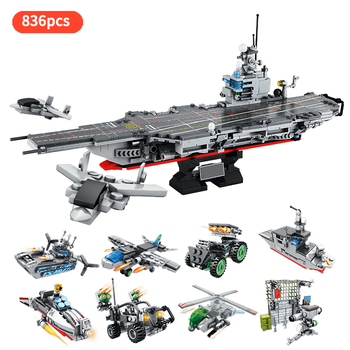 Military Series Aircraft Warship Carrier Helicopter 8 IN 1 33 Styles Army Building Blocks Toys For Children