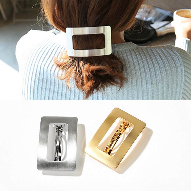 New Korea Geometric Square Metal Hair clip Frosty style Solid Color Hairpins Barrette For Girls Hairgrip Hair Styling Accessorie