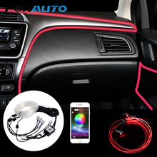 FORAUTO 6 Meter Fiber Optic Car RGB Atmosphere Lamps Remote/App Control Ambient Lamp Car Interior Light Auto Decorative Light