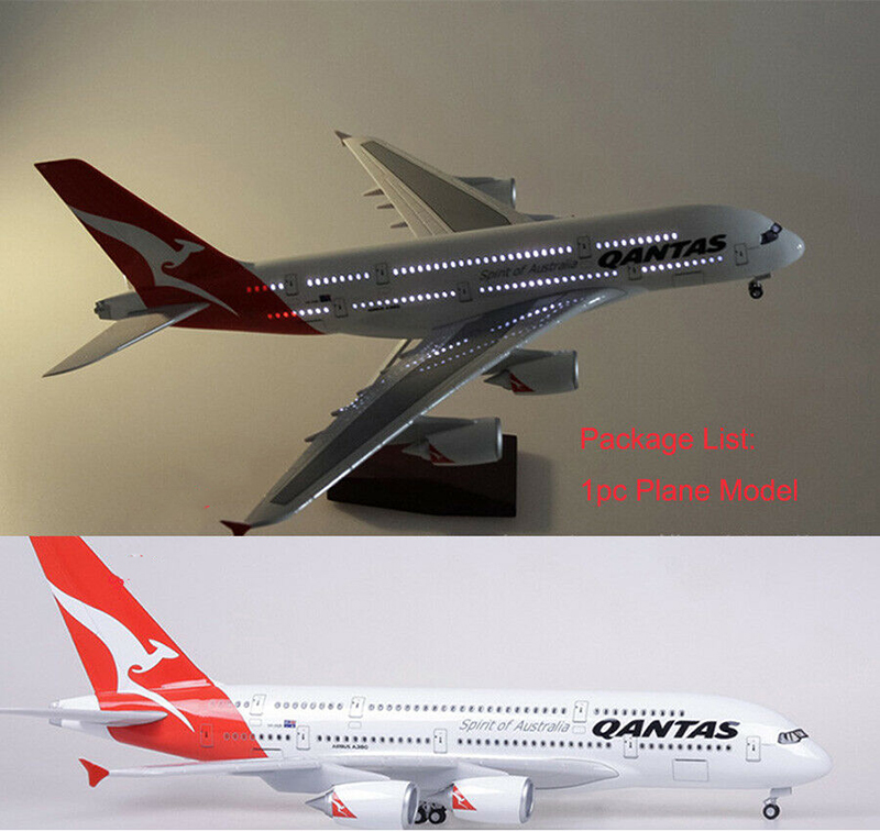 In Stock 1/160 Scale Airplane 46cm Passenger Aircraft A380 Qantas Airways LED Airplane Model