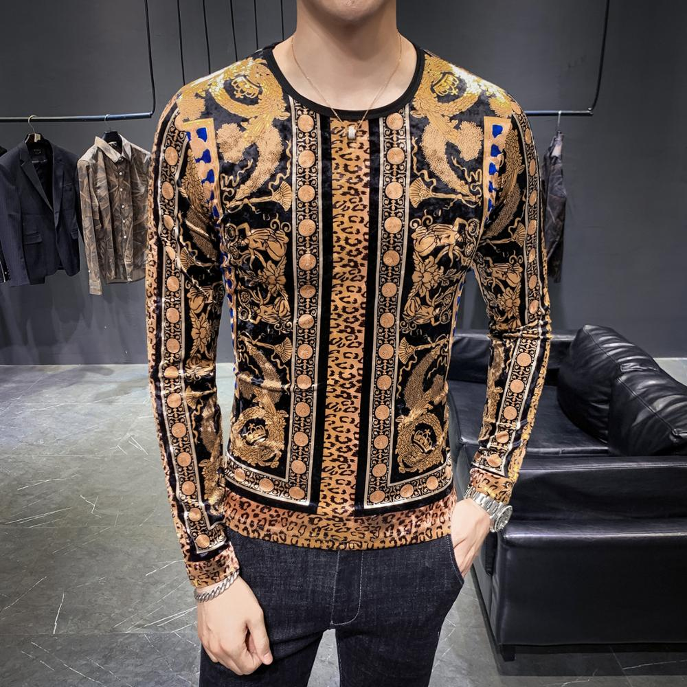2019 New Men Sweater Fashion Black Leopard Pullover Winter Gold Velvet Long Sleeve Clothes For Male Slim Warm O-neck Sweater