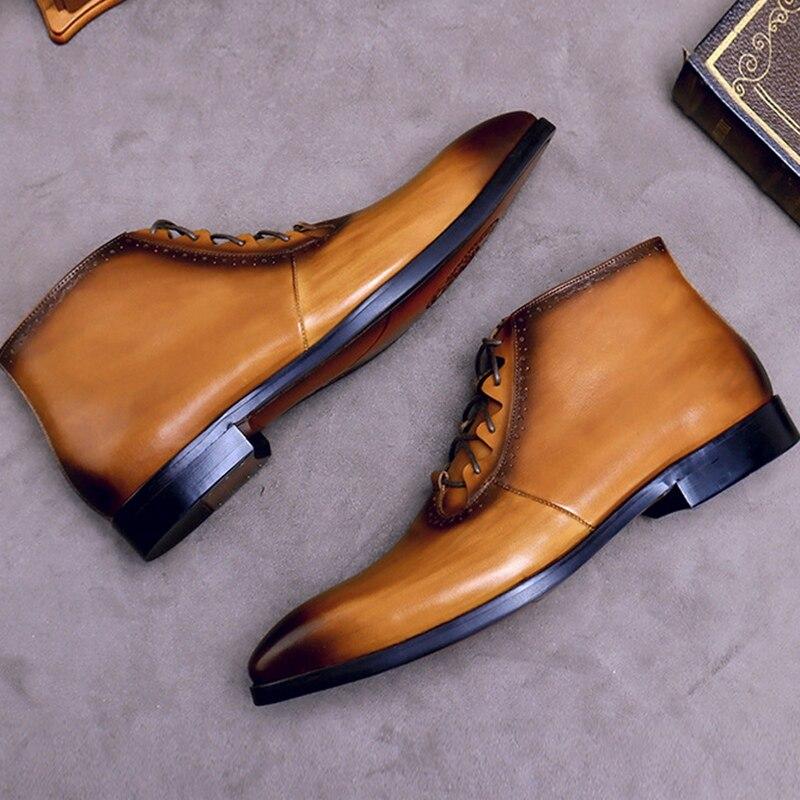 Модные мужские ботильоны на шнурках из натуральной кожи ручной работы; Мужская обувь для верховой езды с высоким берцем на квадратном каблу... - 5