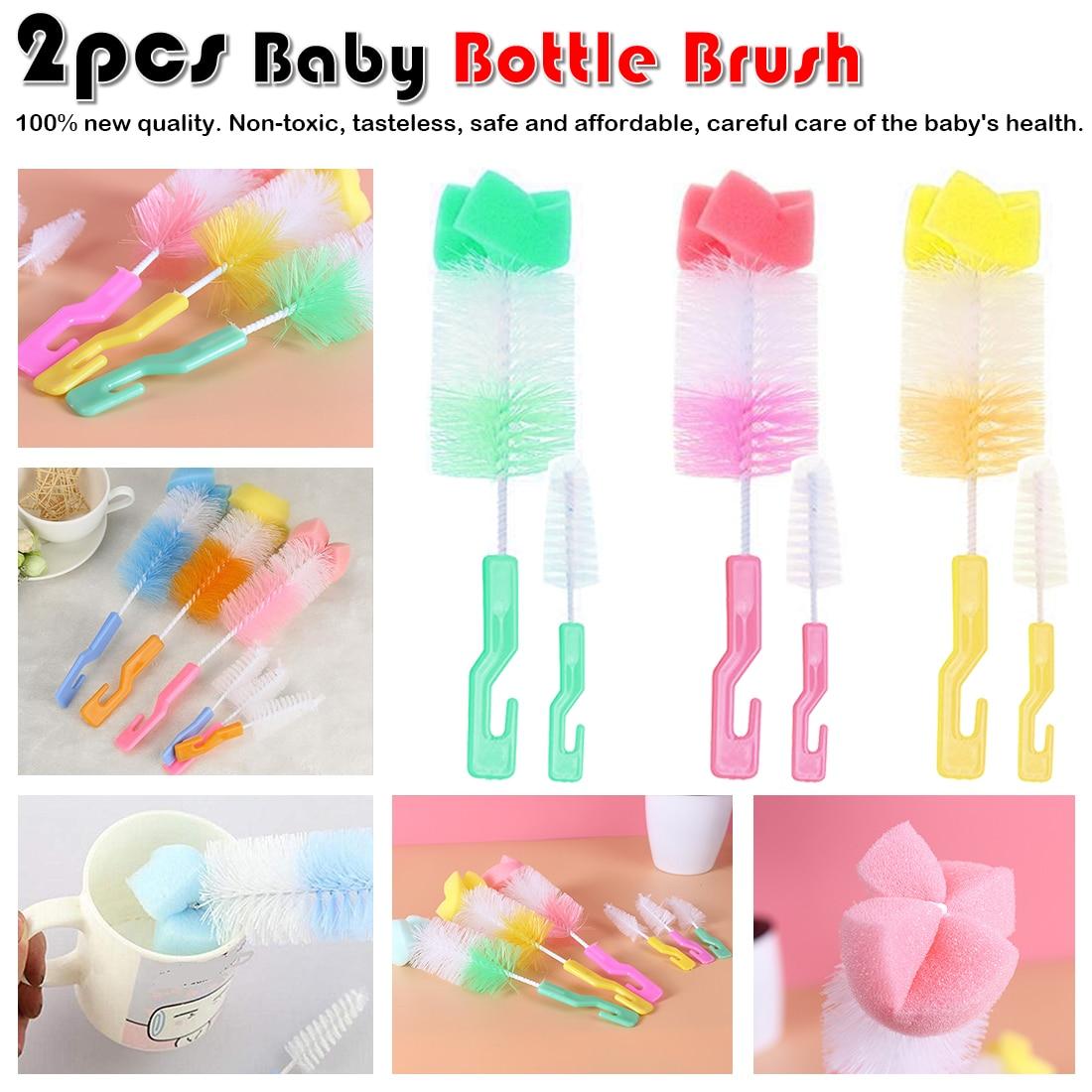 Random Color 2pc The Baby Bottle Brush Wash Bottle Bottle Nipple Brush Tool Sponge Cleaning Kit Baby Products Wholesale