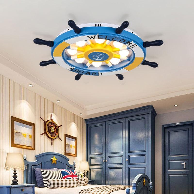 Средиземноморский Декор Детская комната люстры деревянный руль 3 цвета Температура светодиодный розовый небесно голубой потолочный светильник для девочек и мальчиков
