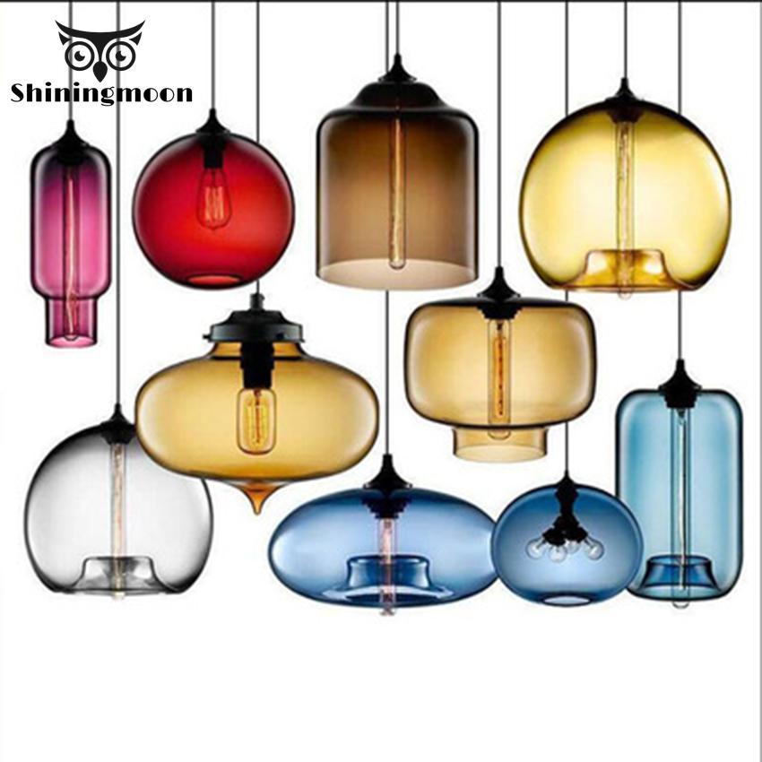 Nordic Loft Colorful Pendant Lights Modern Glass Pendant Lamp Dining Restaurant Lighting Bedroom Hanging Lamp Fixtures Luminaire