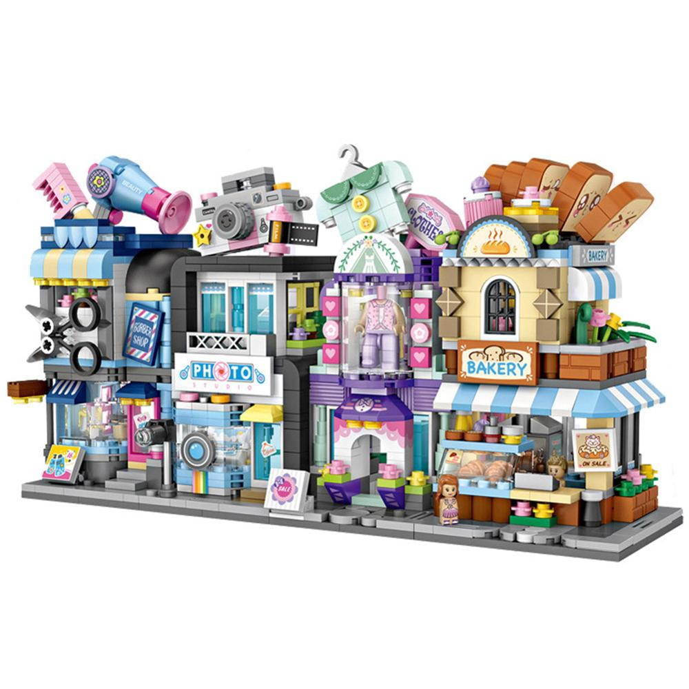 Architectural model of toy handmade creative DIY toy mini building block urban landscape coffee shop retail store crafts kids