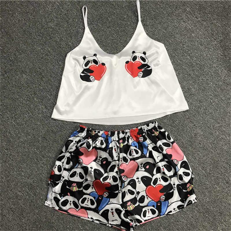 섹시한 Pijamas 여성 잠옷 세트 Kigurumi 유니콘 실크 홈 양복 폭스 인쇄 V 목 잠옷 여성 Femme 잠옷 새틴 2020 여름