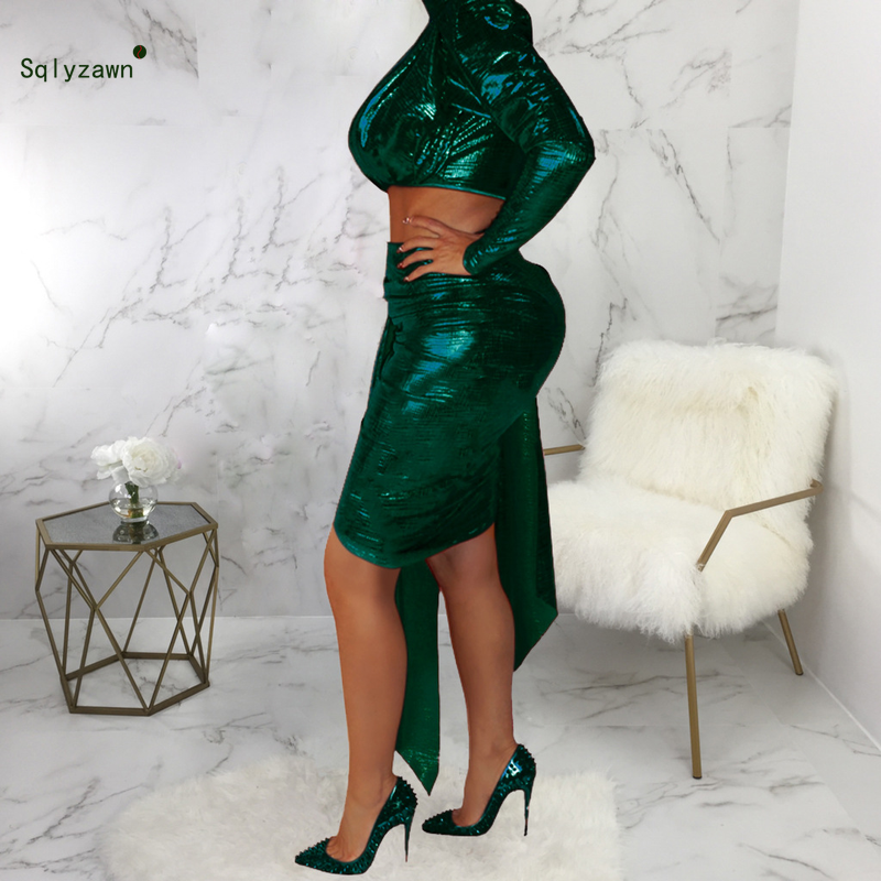 Glitter Lurex Sexy Skinny Party Two Piece Set Women One Shoulder Sleeve Halter Crop Top Midi Bodycon Skirt Party Matching Outfit