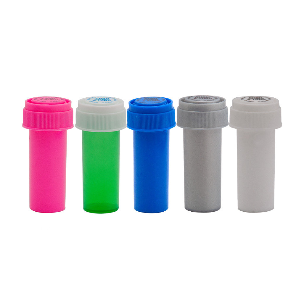 HORNET 8 Dram Push Down & Turn Vial Container Acrylic Plastic Storage Stash Jar Pill Bottle Case Box Herb Waterproof Container