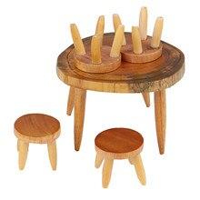 5 Pçs/set Cadeira Mesa de Artesanato Em Miniatura Casa De Bonecas De Madeira Brinquedo da Mobília da Sala de Jantar Paisagem Decoração Da Cozinha do Presente Das Crianças