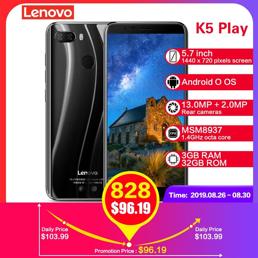 Lenovo K5 Jogar Smartphones L38011 3GB 32GB MSM8937 4G 5.7 ''Snapdragon Octa Núcleo Câmera Traseira 13MP + Câmera Frontal 8MP 2MP Celulares