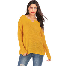 New Korean Style Autumn Winter Knitted V Neck Sweater Women Casual Long Sleeve Ladies Cotton Pullover Jumper Knitwear Pull Femme