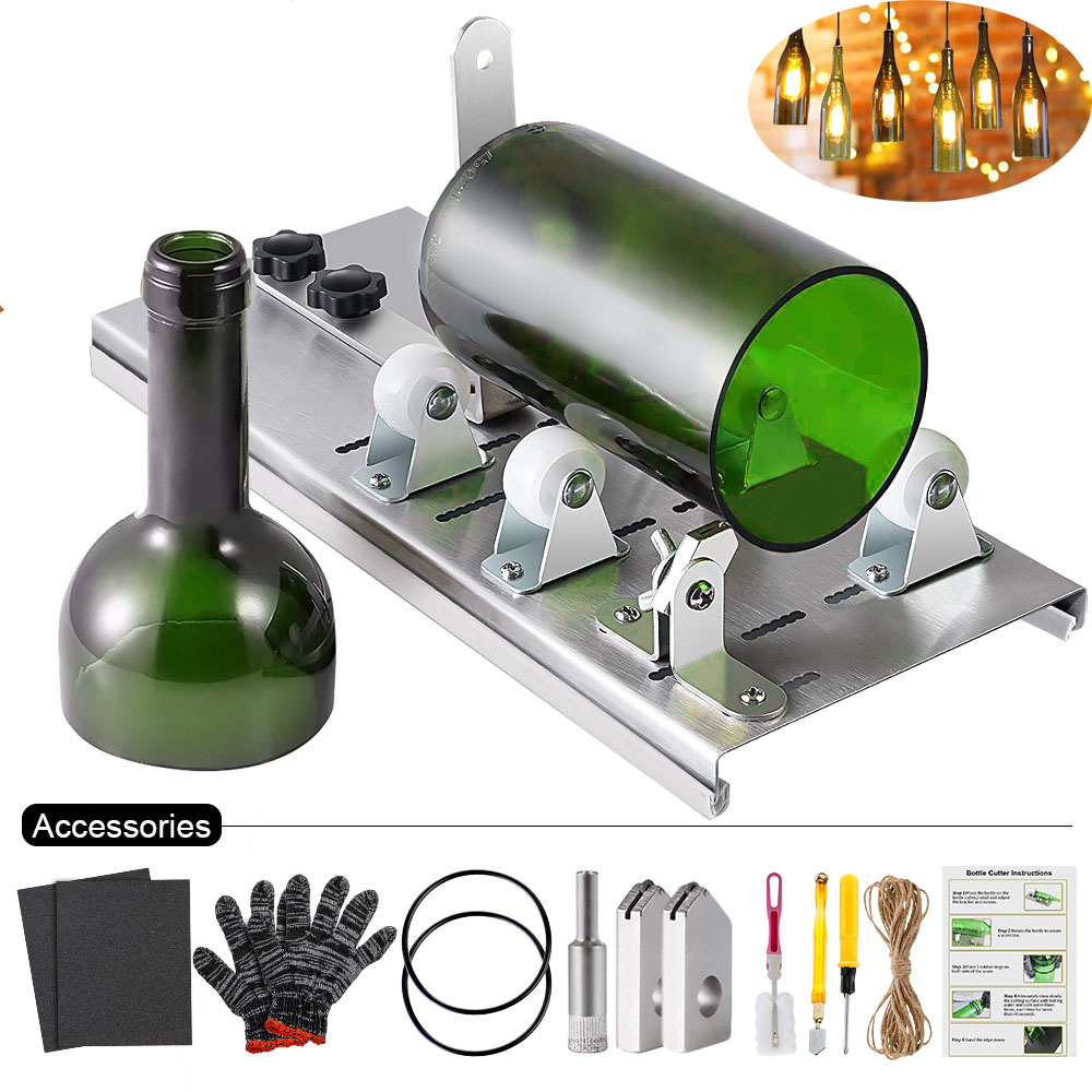10pcs Glass Bottle Cutter DIY Machine For Cutting Wine Beer Whiskey Alcohol Champagne Craft Gloves Glasses Accessories Tool Kit