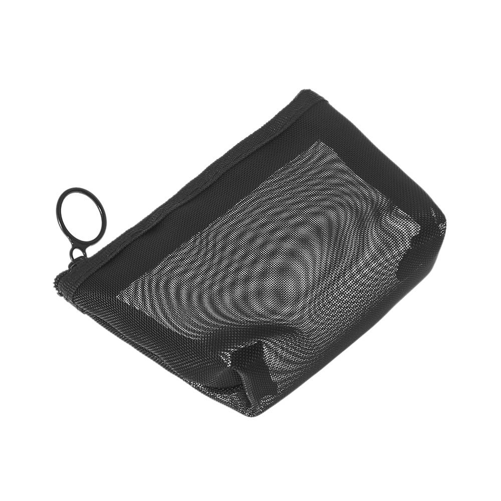 1PC Zíper Cosméticos Saco de Malha Sacos de Embalagem Transparente Organizador de Maquiagem de Higiene Pessoal Viagem Preto Caso Bolsa de Viagem Saco Storge