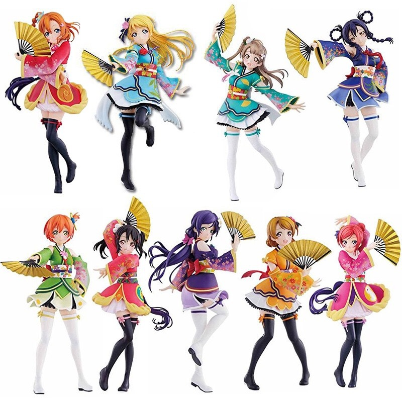 17cm Anime Love Live Honoka Minami Kotori Sonoda Umi Yazawa Nico Kimono Anime PVC Action Figures Collection Model Toy Gift
