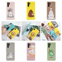 etui Huawei P30 Pro P20 Lite Case Kawaii Phone Stand Holder Unicorn Silicone Cover on for funda Carcasa