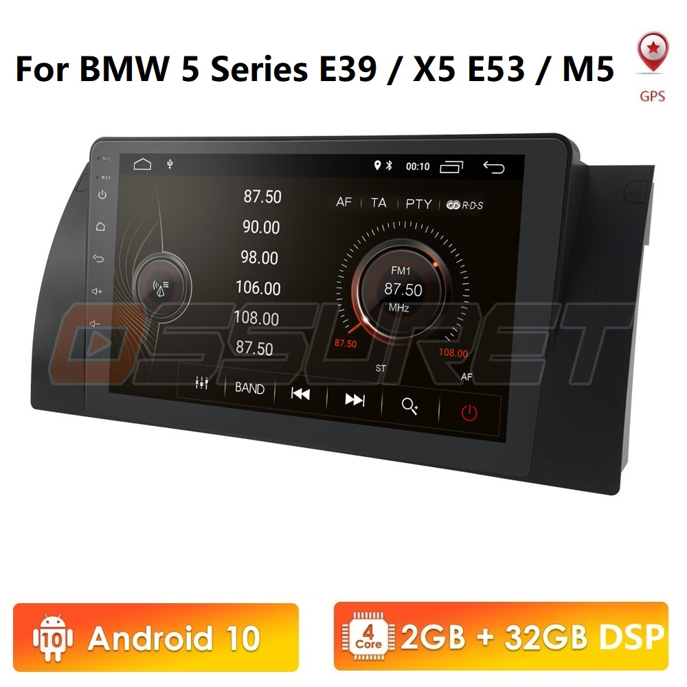 9 inch 1024x600 HD Touch Screen 1 din Android 10 Car Multimedia Radio Stereo for BMW E39 E53 X5 Wifi 4G Bluetooth DVR RDS USB image